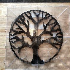 Tree of life Hama perler beads add a tiny tiny bit of color at the ends of each . - Tree of life Hama perler beads add a tiny tiny bit of color at the ends of each …, - Perler Bead Designs, Perler Bead Templates, Hama Beads Design, Diy Perler Beads, Perler Bead Art, Pearler Beads, Fuse Beads, Melty Bead Patterns, Pearler Bead Patterns