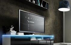 tv furniture sideboard black high gloss blue LED lighting