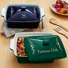 Make a spectacular presentation--from oven to tabletop--with a red, green or blue personalized casserole dish. This would be a perfect hostess gift! #12JollyDays