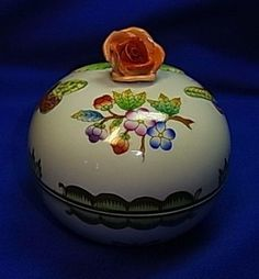 Vintage Hungary Herend Porcelain Box with Rose and Handpainted Flowers #^2
