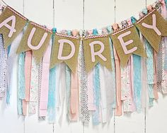 Shabby Chic RagTie Garlands, Knit & Crochet Baby Items by Rag Garland, Fabric Garland, Burlap Baby Showers, Rag Banner, Pendant Banner, Bridal Shower Photos, How To Make Banners, Burlap Lace, Manualidades