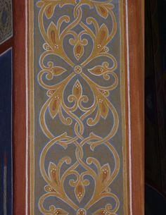 Орнамент Казанского храма. Оптина.. Border Pattern, Border Design, Pattern Art, Pattern Design, Stencil Patterns, Painting Patterns, Deco Paint, Islamic Patterns, Byzantine Icons