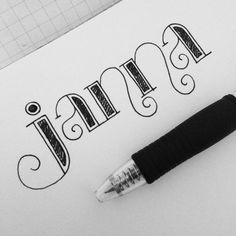Lettering selfie by Janna Barrett Caligraphy, Calligraphy Alphabet, Calligraphy Fonts, Penmanship, Pretty Letters, Cute Letters, How To Draw Letters, Doodle Art Letters, Doodle Alphabet