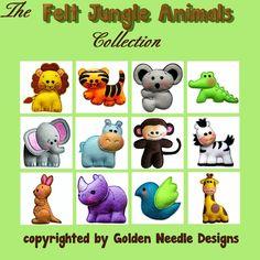Felt Jungle Animals Machine Embroidery Designs