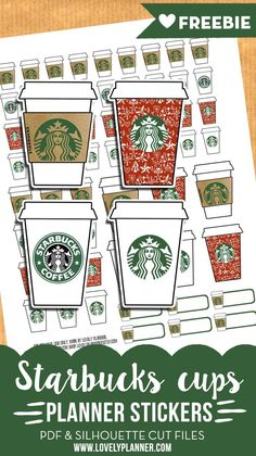 Free Printable Starbucks Coffee Cup Stickers {PDF and Silhouette Files} More planner freebies on lovelyplanner.com