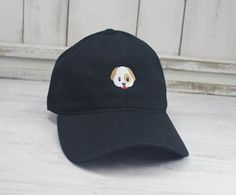 Dog Emoji Dad Hat Embroidered Baseball Cap Curved Bill by REALEST