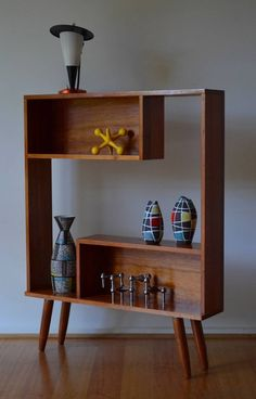 retro mid century solid Tasmanian myrtle timber shadow box bookshelf / shelf