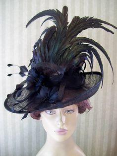Black Kentucky Derby Hat Victorian Hat Wedding Hat by MsPurdy, $119.99