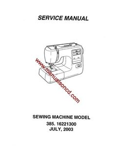 Kenmore Model 385.16221300 Sewing Machine Service Manual.  Kenmore sewing machine service manual covers models: 16221300 (38516221300) 16221301 (38516221301)  42 page manual.  Here are just a few examples of what's included in this manual:  * Top Tension. * Presser bar height and Alignment. * Feed dog height. * Needle bar height. * Needle to shuttle timing. * Motor belt tension. * Oiling. * Wiring of terminal block.