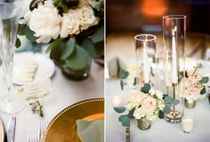 {{Spring wedding at Bridgeport Art Center in Chicago. Centerpiece with taper candles in vintage brass candesticks.}}  Photo by Britta Marie Photography, http://brittamariephotography.com/ || Flowers by Pollen, pollenfloraldesign.com