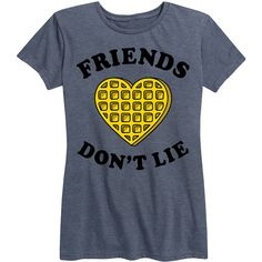 LC Trendz Women's Heather Blue 'Friends Don't Lie' Relaxed-Fit Tee (16 CAD) ❤ liked on Polyvore featuring tops, t-shirts, blue top, heather tee, relaxed tee, relaxed fit tops and blue t shirt