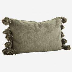 Putetrekk m/ dusker Oliven cm Bomull Cute Cushions, Green Cushions, Sheffield, Moving Furniture, Soft Furnishings, Cushion Covers, Panama, Olive Green, Tassels