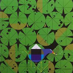 Gallinule and Gator - by Charley Harper