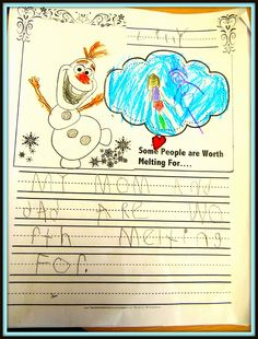 21 Frozen Party Activities #Olaf writing project - People Worth Melting For....