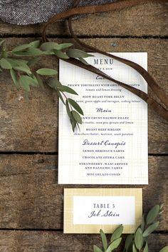 hello tenfold wedding menu and escort cards by hello tenfold