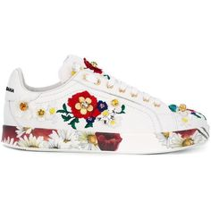 Dolce & Gabbana Embellished Sneakers ($1,069) ❤ liked on Polyvore featuring shoes, sneakers, white, white lace up shoes, white leather trainers, leather shoes, multi colored sneakers and floral sneakers