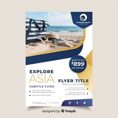 Travel flyer template with photo Free Vector Graphic Design Flyer, Flyer Design, Banner Design, Corporate Flyer, Corporate Design, Business Flyer, Adobe Illustrator, Modele Flyer, Brochure Design Layouts