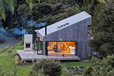 Back Country House by LTD Architectural « Inhabitat – Green Design, Innovation, Architecture, Green Building Accordion Glass Doors, Casas Containers, Cabins In The Woods, Open House, Tiny House, House 2, Small Houses, Future House, Architecture Design