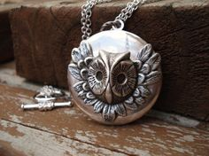Owl on Long Silver Chain
