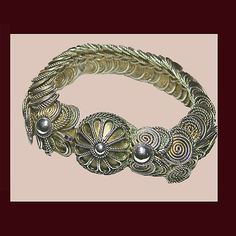 Let's Get Vintage - Sterling Silver & Silver Plate - Most unusual and captivating sterling silver bracelet. Signed STERLING SILVER MADE IN TRINIDAD - Vintage Costume Jewelry
