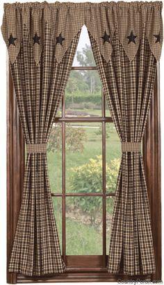 Vintage Star Black Lined Tieback Curtain Panels
