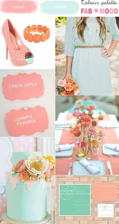 More in live with the colors everyday!! 5.31.14  coral mint wedding colour mood board,coral mint wedding ideas