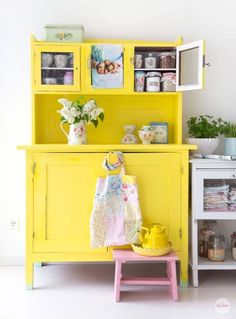 38 Gorgeous Yellow Aesthetic Room Decor - Home Design Decor, Yellow Kitchen Decor, Painted Furniture, Yellow Furniture, Furniture, Interior, Aesthetic Room Decor, Home Decor, Yellow Kitchen Accessories