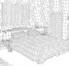Modern Mantra is a highly unusual series of 18 drawings from Swedish artist Thomas Broomé. Using Indian ink on white paper he creates home interiors comple Object Drawing, Line Drawing, Word Drawings, Art Handouts, Perspective Sketch, Artist Project, Descriptive Words, Drawing Activities, Drawing Projects