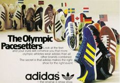 Vintage adidas advert (love the colours of these original Adidas Vintage, Adidas Retro, Retro Ads, Vintage Advertisements, Retro Advertising, Adidas Og, Adidas Sneakers, Nike Outfits, Montreal