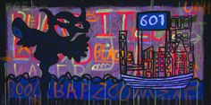 Ray Moore - 601 (2013) – Mixed Media on Canvas (black light), 160 x 81 cm. Available at Unequity, Munich