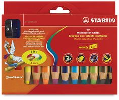 Stabilo Woody 3 in 1 Pencils  This chunky pencil functions as a colored pencil, watercolor, and wax crayon all in one