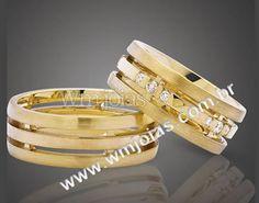 Alianças de casamento Aliança em ouro amarelo 18k 750 http://www.wmjoias.com.br/