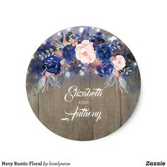 Navy Rustic Floral Classic Round Sticker