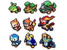 Pokemon Perler Generation 4 Starters Choose 1 by ShowMeYourBits perler,hama,square pegboard,video games,nintendo,pokemon,