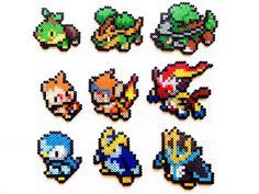 Pokemon Perler Generation 4 Starters Choose 1 by ShowMeYourBits perler,hama,square pegboard,video games,nintendo,pokemon,