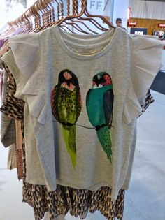Soft Gallery kidswear for spring 2014, exotic birds for a colourful print on a simple grey T-shirts