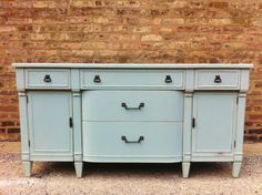 Vintage Buffet In Smokey Blue. Love the paint finish- color for coffee table? Recycled Furniture, Painted Furniture, Furniture Design, Nursery Furniture, Furniture Ideas, Ikea Buffet, Corner Drawers, Vintage Buffet, Changing Table Dresser