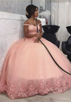 May 2019 - Pink Off Shoulder Lace Corset Tulle Engagement Ball Gown Prom Dresses Xv Dresses, Quince Dresses, Ball Dresses, Prom Dresses, Corset Dresses, Sweet 15 Dresses, Pretty Dresses, Beautiful Dresses, Rose Gold Quinceanera Dresses