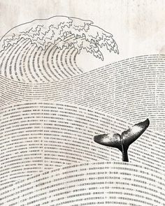 Mori Yuzan - Graphic Black and White Illustration - Ocean Waves Whale Fin Sea Fish Sea-Mammal Art And Illustration, Art Illustrations, Moby Dick, Inspiration Art, Art Inspo, Art Graphique, Art Design, Book Design, Graphic Design Books