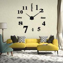 Acrylique Moderne À faire soi-même Horloge murale 3D Mirror Surface Sticker Home Office Decor
