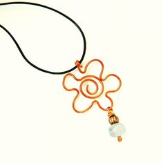 Flower Power fun necklace of leather copper and fluorite by BearRunOriginals