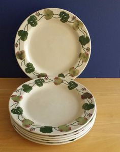 Hartstone Pottery (6) Geranium Pattern Dinner Plates 11 1/4  Green Leaves & Hartstone Pottery Geranium (6) 7 3/4