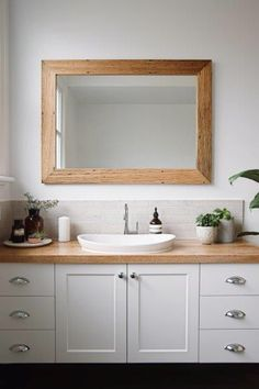 Main Bathroom : limed timber benchtop : paneled cabinetry : indoor plants : Lazcon