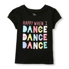 s Toddler Short Sleeve 'Happy When I Dance Dance Dance' Graphic Tee - Black T-Shirt - The Children's Place