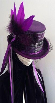 Lady McCrowdie steampunk purple top hat by Blackpin Steampunk Hut, Steampunk Top Hat, Steampunk Costume, Steampunk Fashion, Victorian Steampunk, Purple Love, All Things Purple, Purple Rain, Shades Of Purple