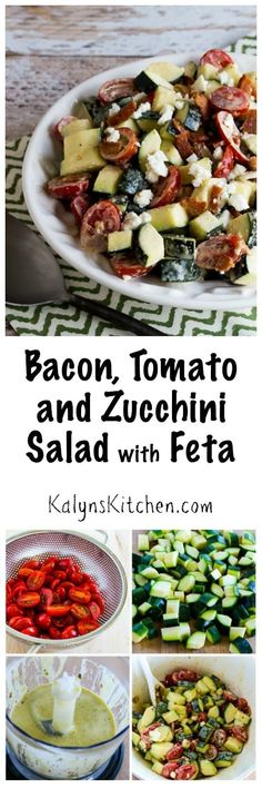 I love the crunch of the raw zucchini in this low-carb, gluten-free, and South Beach Diet friendly Bacon, Tomato, and Zucchini Salad with Feta! [found on KalynsKitchen.com]: