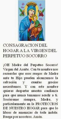 Consagración del hogar a la a Virgen del Perpetuo Socorro.