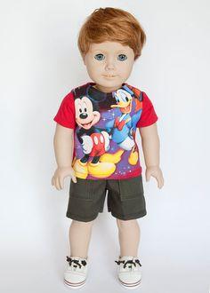 American Boy doll upcycled Disney T shirt  red by EverydayDollwear