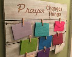 Wooden Prayer Board- Prayer Changes Things by KettleCreekDesignsTN on Etsy Prayer Corner, Prayer Wall, Prayer Room, Prayer Board, Prayer Signs, Sunday School Rooms, Prayer Stations, Prayer Changes Things, Prayer Closet