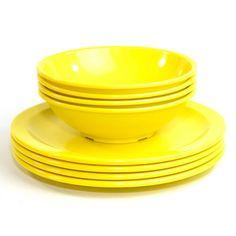 Texas Ware Dinner Plates & Bowls (Set of 8 Pieces) - Retro Sunshine Yellow Melamine Melmac Plastic Dishes - Vintage Home Kitchen Decor